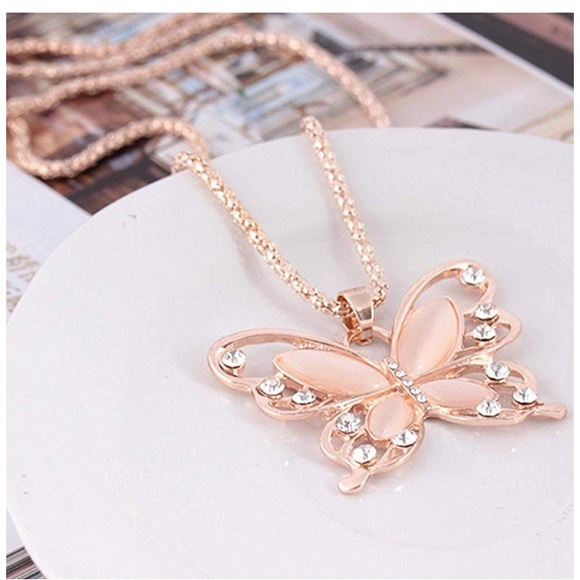 Rose Gold Butterfly Necklace for Women Brushed Finish Rose Gold Butterfly Pendant Necklace Butterfly Necklace for Teen Girls and Women